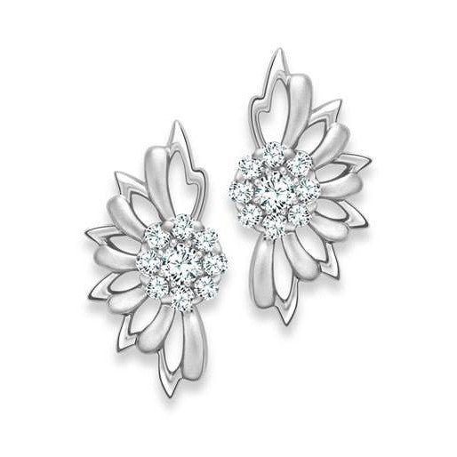 Platinum Earrings Flower Studs SJ PTO E 119 - Suranas Jewelove  - 1