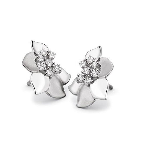 Platinum Earrings Pendant set with Flowery Design SJ PTO E 113 - Suranas Jewelove  - 1
