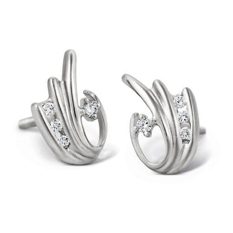 Platinum Earrings with Channel  Diamonds SJ PTO E 105