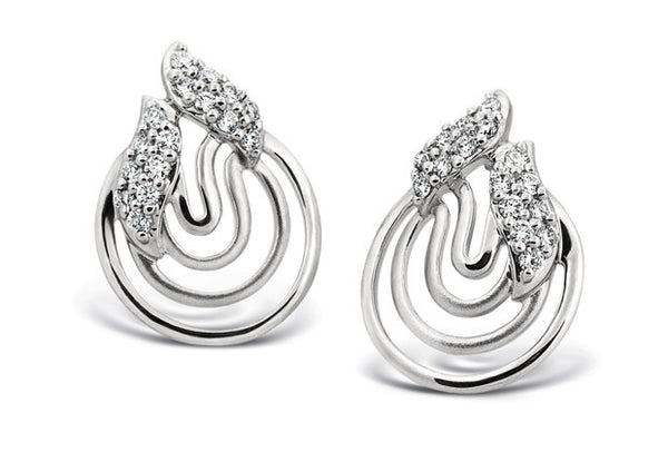 Platinum Earrings with Concentric Circles SJ PTO E 112 - Suranas Jewelove