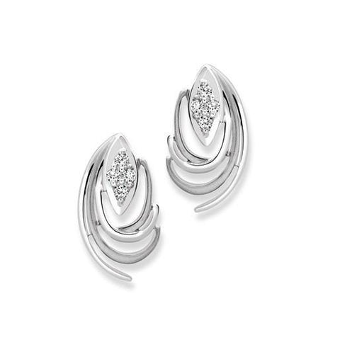 Platinum Earrings with Curvilinear Design SJ PTO E 115 - Suranas Jewelove
