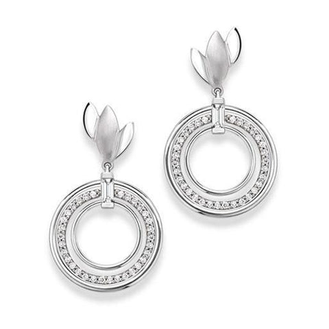 Platinum Earrings with Diamond Circle Hanging SJ PTO E 127 - Suranas Jewelove