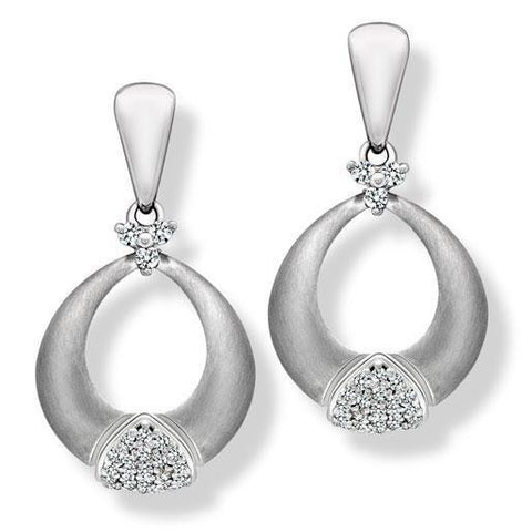 Platinum Earrings with Diamonds, Geometric Design SJ PTO E 151 - Suranas Jewelove