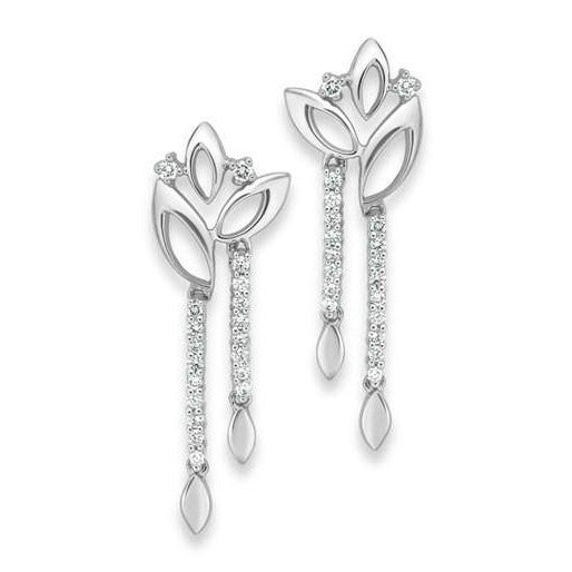 Platinum Earrings with Diamonds SJ PTO E 124 - Suranas Jewelove