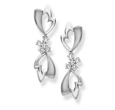 Platinum Earrings with Diamonds SJ PTO E 130 - Suranas Jewelove