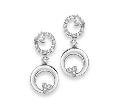 Platinum Earrings with Diamonds SJ PTO E 131 - Suranas Jewelove