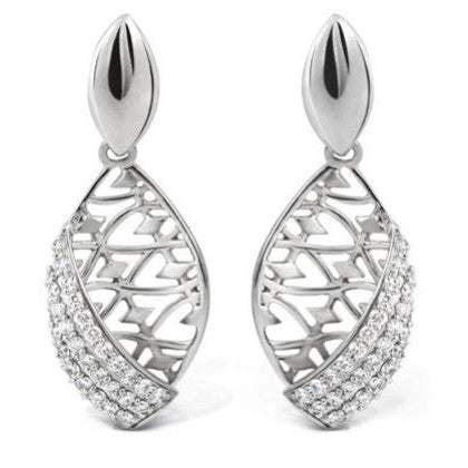 Platinum Earrings with Filigree work SJ PTO E 109 - Suranas Jewelove