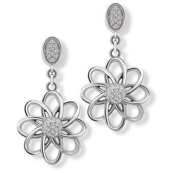 Platinum Earrings with Hanging Flower SJ PTO E 149 - Suranas Jewelove