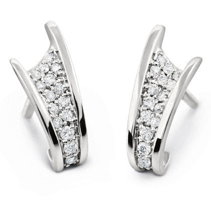 Platinum Earrings with Pave set Diamonds SJ PTO E 104 - Suranas Jewelove
