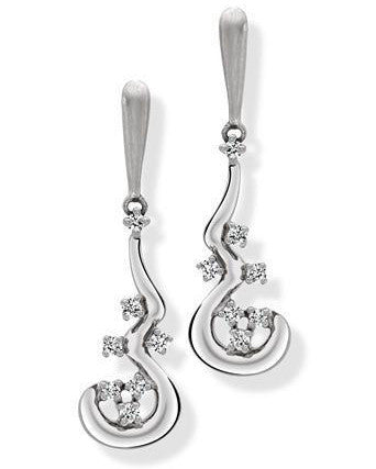 Platinum Fluid Bali Earrings with Diamonds SJ PTO E 137 - Suranas Jewelove