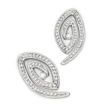 Spiral Platinum Earrings with Pave set Diamonds SJ PTO E 102 - Suranas Jewelove  - 1