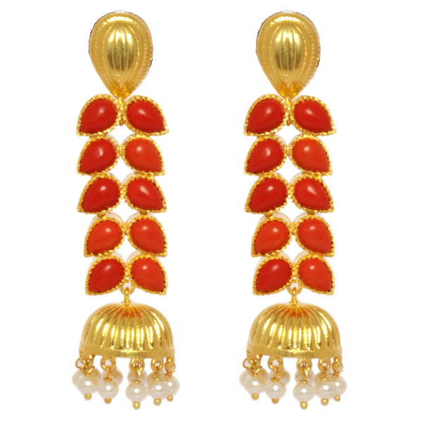 Earrings - Sterling Silver 925 Long Jhumkis With Red Coral & Pearls JL AG 1024