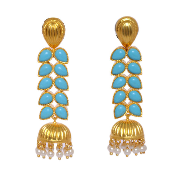 Earrings - Sterling Silver 925 Long Jhumkis With Turquoise & Pearls Gold Plated JL AG 1023