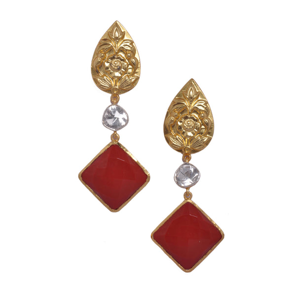 Earrings - Sterling Silver Earrings With Gold Plated Flower Motifs, Red Coral & Crystal Polki JL AG 1009