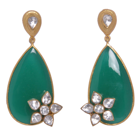 Earrings - Sterling Silver Earrings With Green Onyx & Crystal Polki JL AG 1010