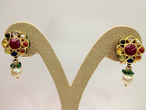 Traditional Indian Navrattan Earrings with Uncut Diamond Polki by Suranas Jewelove - Suranas Jewelove