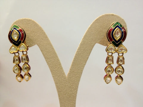 Unround Tricolor Chandelier Earrings by Suranas Jewelove - Suranas Jewelove