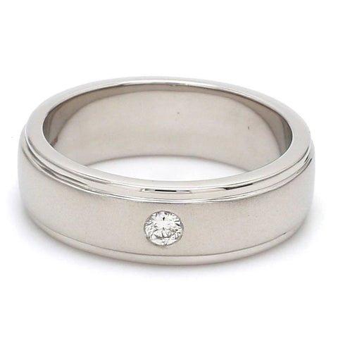 0.05 cts. Classic Platinum Love Bands with Single Diamonds SJ PTO 101 - Y
