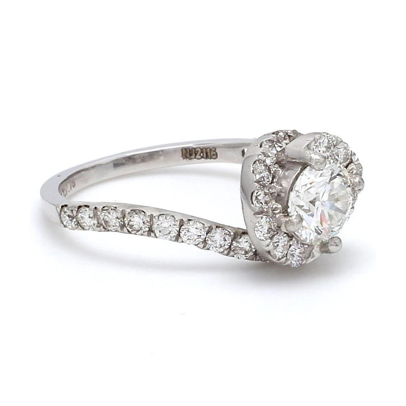 50 Pointer Platinum Solitaire Engagement Ring with a Curvy Diamond Shank JL PT 472