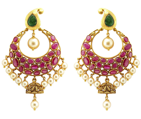 Gold Ruby Earrings - Chandbali Earrings Crafted In Gold, Rubies & Emeralds JL AU 105