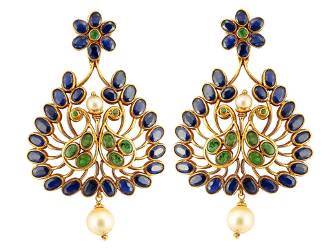 Gold Sapphire Earrings - Chandelier Earrings Crafted In Gold, Sapphires & Emeralds JL AU 106