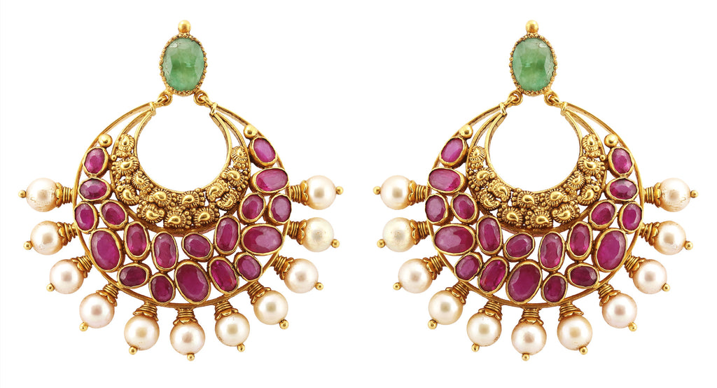 Gold Chand Bali Earrings with Rubies & Pearls JL AU 108 – Jewelove™