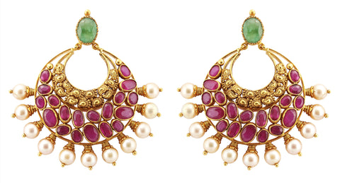 Gold Ruby Earrings - Gold Chand Bali Earrings With Rubies, Emeralds And Pearls JL AU 109