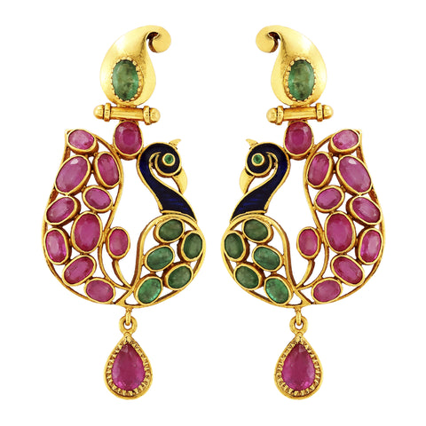 Gold Ruby Earrings - Peacock Earrings Crafted In Gold, Rubies & Emeralds JL AU 104