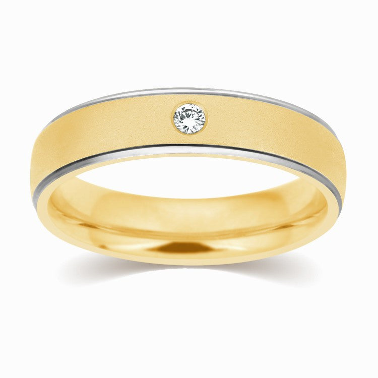 2 Tone Yellow & White Gold Wedding Band with Single Diamond JL AU ...