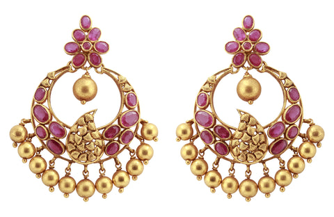 Gold Ruby Earrings - Gold Chandbali Earrings With Rubies JL AU 107