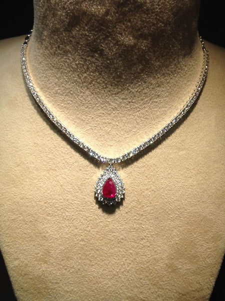 High End Solitaire Necklaces in India - Classic Ruby Necklace With Diamond Pointer Neckline SKU 15