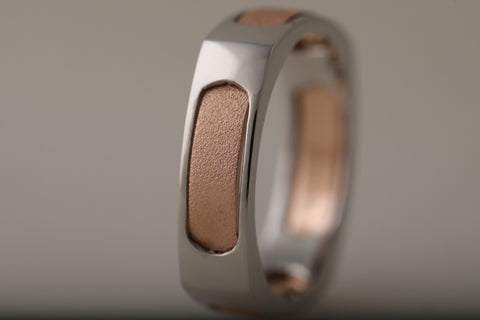 Men of Platinum | Square Profile Rose Gold Platinum Ring JL PT 688-RG