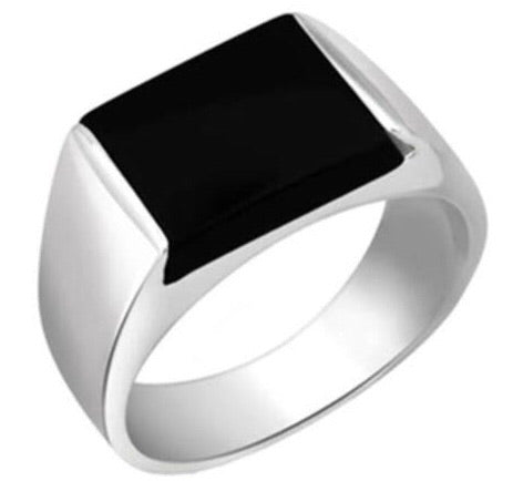Customised Platinum Ring with Black Stone