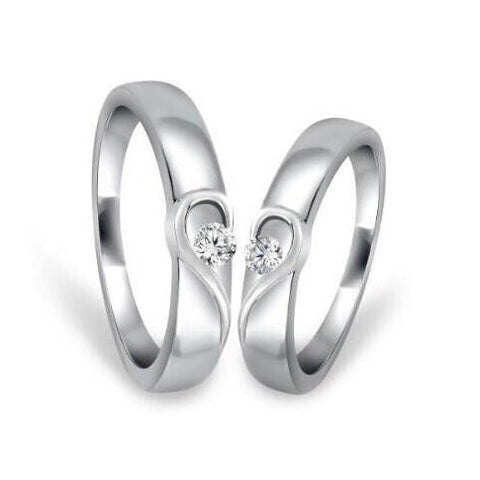 Heavy Platinum Couple Rings with Complementary Hearts SJ PTO 243 - A