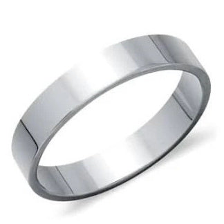 4mm Wide Flat Platinum Wedding Band SJ PTO 256