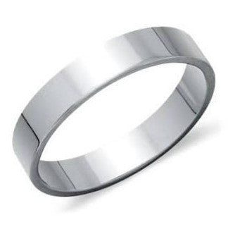 5mm Wide Flat Platinum Wedding Band JL PT 924