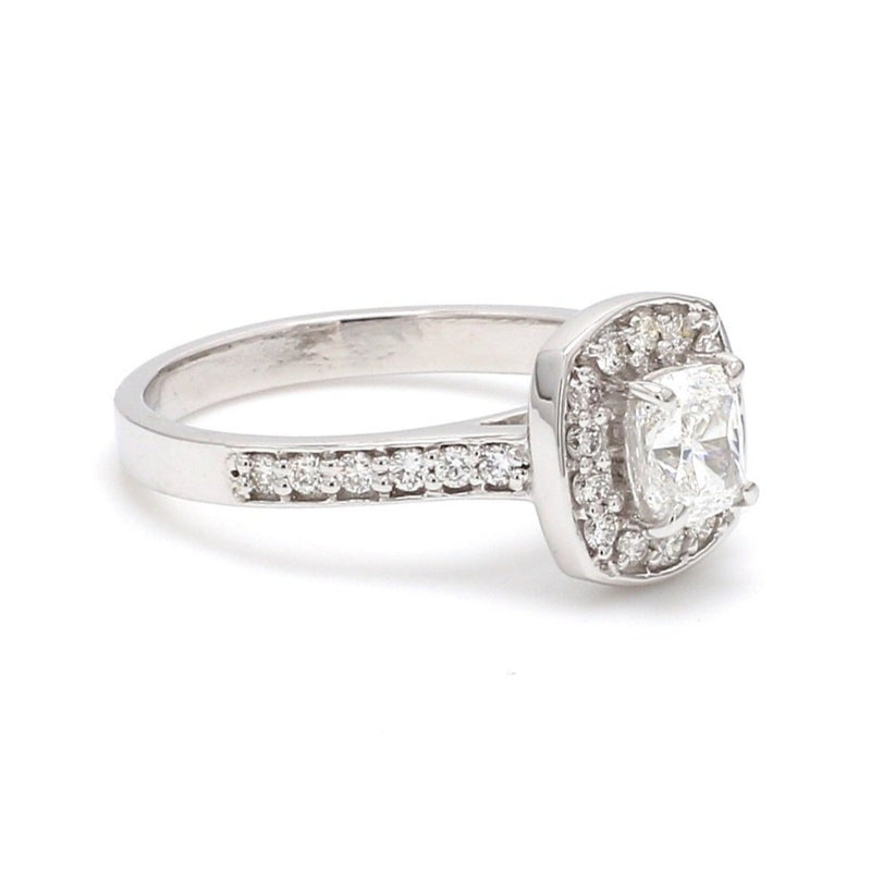 Side View of Raised Halo Solitaire Engagement Platinum Ring with Cushion Cut JL PT 661