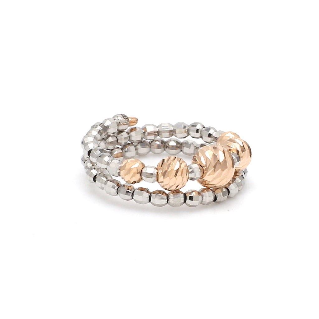 Flexible Platinum & Rose Gold Ring with Diamond Cut Balls JL PT 719