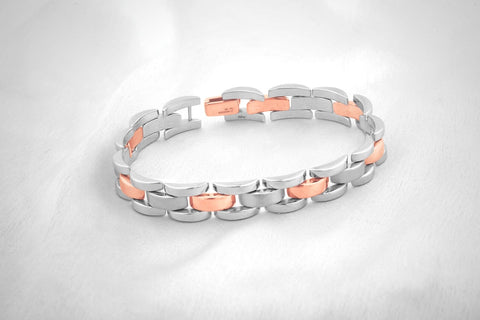 Platinum and Rose Gold Bracelet for Men JL PTB 710