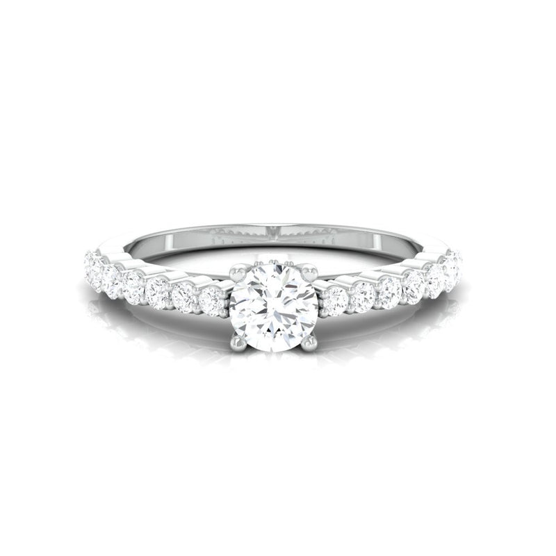 Ready to Ship - Ring Size 11, Platinum Engagement Solitaire Ring with Diamond Accents JL PT 674