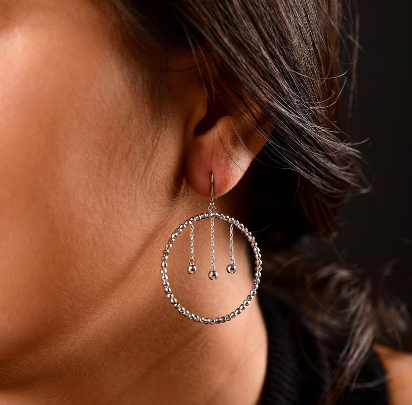 Japanese Platinum Earrings with Hanging Diamond Cut Hoop For Women JL PT E 162