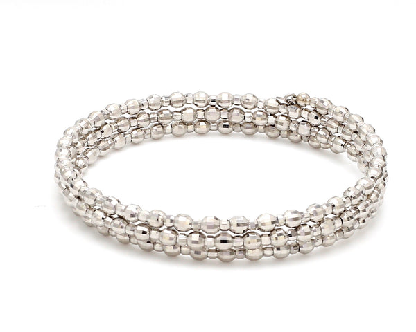Dazzling Shiny 3-row Japanese Platinum Bracelet for Women with Diamond Cut Balls JL PTB 721