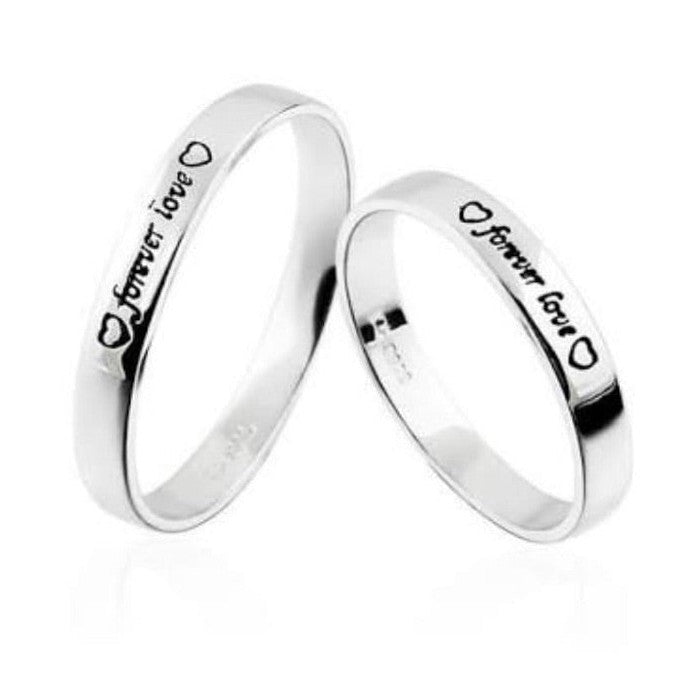 b48201d858 Forever Love Platinum Couple Rings with Black Engravings JL PT 581 –  Jewelove™