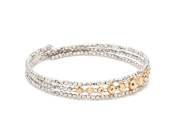 Dazzling Shiny 3-row Flexible Japanese Platinum & Rose Gold Bracelet for Women JL PTB 724