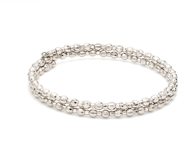 Dazzling Shiny 2-row Japanese Platinum Bracelet for Women with Diamond Cut Balls JL PTB 722