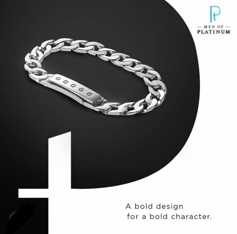 Men of Platinum | Heavy Platinum Bracelet with Unique Diamond Studded Lock JL PTB 651