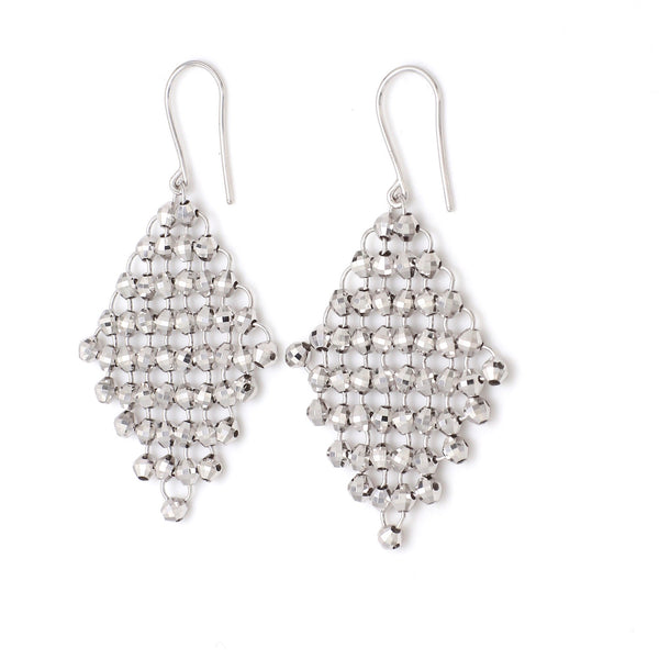 Limited Edition : Japanese Platinum Earrings with Flexible Diamond Cut Balls For Women JL PT E 181 Made in Japan