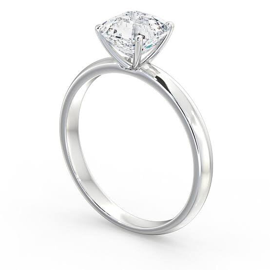 Classic 4 Prong Platinum Cushion Cut Solitaire Ring