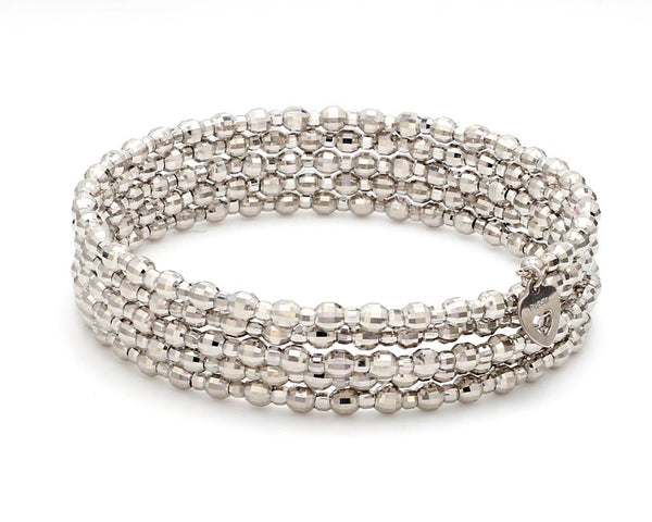 Dazzling Shiny 5-line Japanese Platinum Bracelet for Women with Diamond Cut Balls JL PTB 720