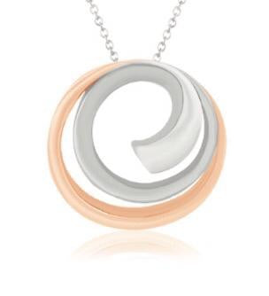 Platinum Rose Gold Fusion Pendant with Circles JL PT P 176